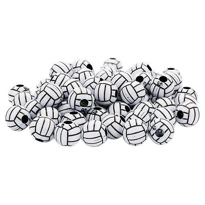 50pcs Volleyball Round Acrylic Loose Large Hole Spacer Bead for Beading 12mm