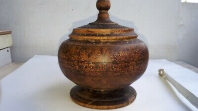 Old Antique Ottoman Wooden Primitive Hand Carved Round Bowl Cup With Lid