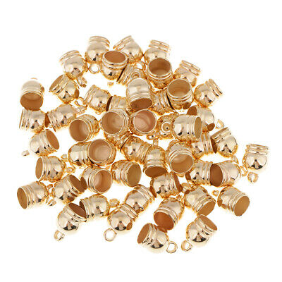 50pcs End Cap Bead Stopper Fit 8mm Leather Cord DIY Jewelry Findings Gold