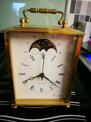 Brass Moon Phase Carriage Clock