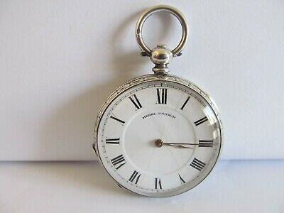 Antique fob pocket watch fine silver very good condition and working