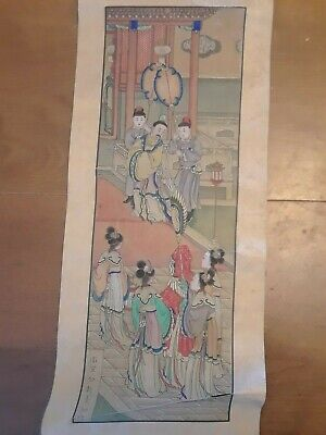 Antique Chinese Ming or Qing Emperor's Wedding Scroll Painting On Silk
