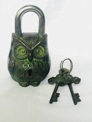 Old Antique Brass Handcrafted Owl Shape Pad Lock With 2 Keys, Collectible