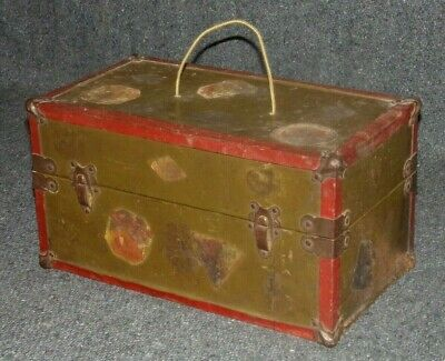 Antique 1900's Salesman Sample Metal SteamerTrunk-Vintage Doll Chest-w/Decals