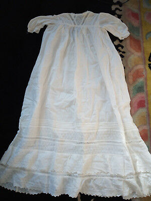 Antique Embroidered Cotton Christening Gown