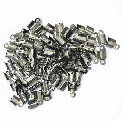 100 Pcs Folding Crimps Cord Thong End Connectors 10mm Metal Black