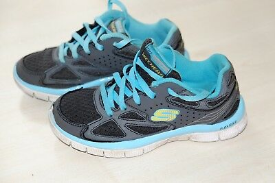 Skechers girls grey/blue trainers size 12 Used