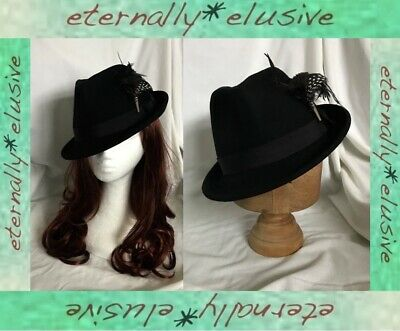 Vintage Black Wool Tilted Trilby Hat Winter Races Mens Womens Feather Plume Pin
