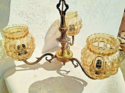Vintage 3 Branch Rococo Gold Gilt Brass Metal Chandelier Amber Glass Shades