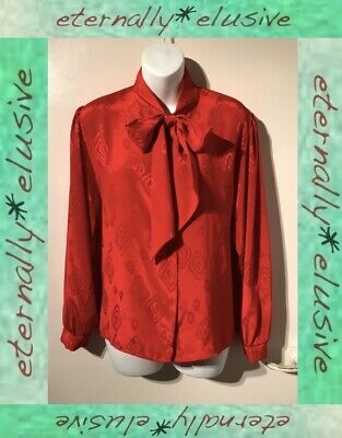 Vintage Red Silky Moire Satin Pussy Bow Mistress Secretary Blouse Top Size 16 18