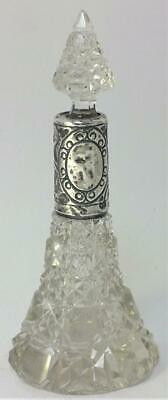 Antique hallmarked Sterling Silver Collared Cut Glass Scent/Perfume Bottle– 1912