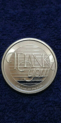 "Silvertowne Mint 1 Troy Oz .999 Fine Silver Art Round  ""THANK YOU"" 2000 Vintage"