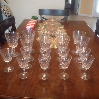 Vintage Stuart Crystal Set Of 18 Claridge 9 Wine Or Water Goblets 9 Cordials