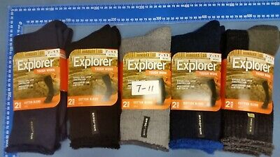 6 Pairs Holeproof Explorer Thick Cotton Or Wool Work Socks size 3-8,7-11, 11-14