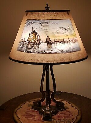 Antique Arts & Crafts Pairpoint Reverse Painted Nautical Ship Scene Table Lamp