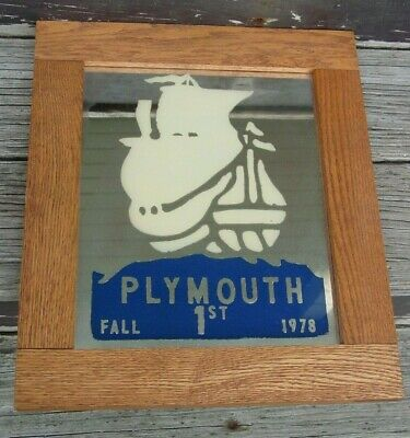 Vintage Plymouth Car Club Fall 1st Place Award Mirrored Plaque in Oak Frame 1978