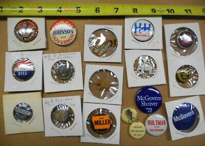 LOT VINTAGE POLITICAL CAMPAIGN BUTTONS PRESIDENT SENATE SHERRIFF MacArthur V-DAY