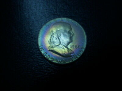 1960 Franklin Half Dollar ** Green,purple,violet Target Toning