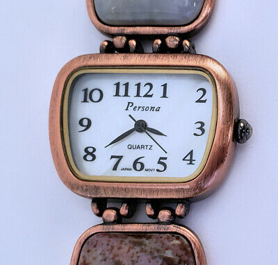"Women's Copper Finish Analog Quartz Watch 30mm Gemstones Bracelet 7¼"" MOP Dial"