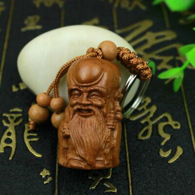 God of Longevity Statue Wood 3D Hand Carving Chinese Sculpture Pendant Key Chain