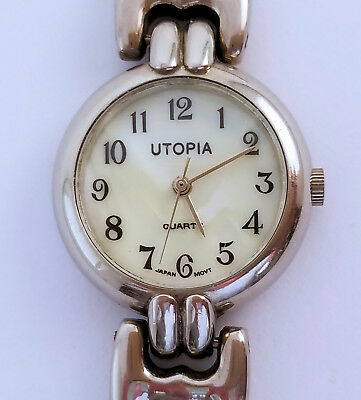 "Women's Utopia 24mm Quartz Watch MOP Dial Silver Arabic 7¼"" Bracelet Japan Movt"