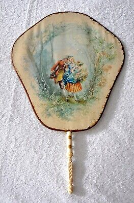 Antique Ladies Hand Held Screen Fan, hand painted Romantic Scene on Cream Fabric