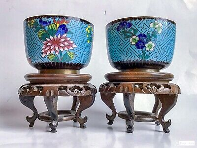 Pair Antique Chinese Cloisonne Wine Cups & Stands