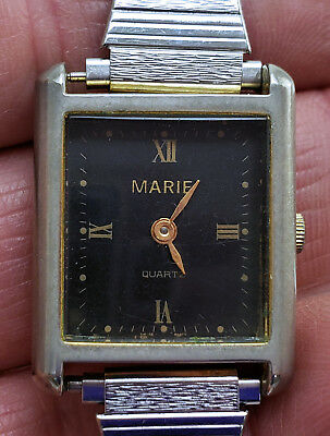 Women's Vintage Marie Swiss Parts 1 Jewel Quartz Watch 21mm by 25mm Black Dial