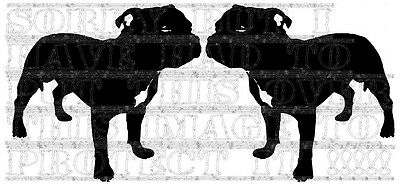 Staffies x 2 vinyl decal 19x19cm each decorative staffordshire bull terior dogs