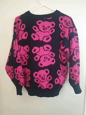 Vintage Sussan Teddy Bear Print Pullover Knit Jumper Sweater Size Small