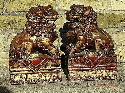 Victorian Antique Beautiful Wood carved Asian Temple Lions Foo dogs Te Ling pair