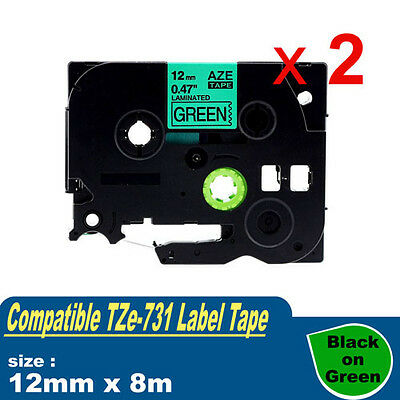 2x Compatible Brother TZ-731 P-Touch Laminated Tape TZe-731 12mm Black on Green