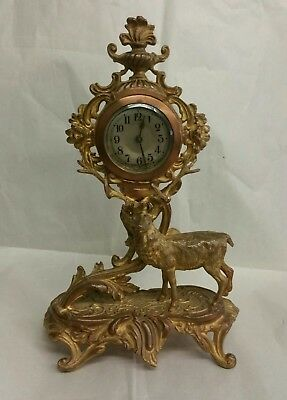 Antique Gilded Bronze Mantle Clock Louis XV Style, Rococo German Movement Deer