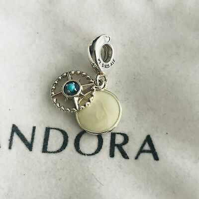 ^  Authentic Pandora Bead Compass Dangle Enamel & Cyan Blue Crystal 797196EN23