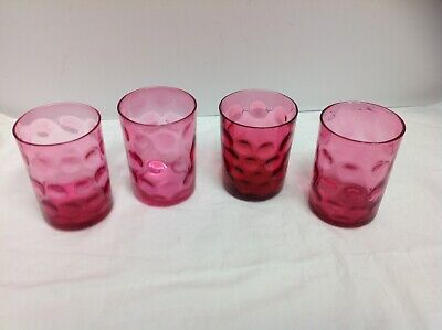ANTIQUE CRANBERRY GLASS VICTORIAN GLASS COIN STAMP 4 glasses
