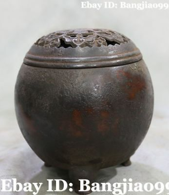 Old Collect Chinese Purple Bronze Ancient Incense Burner Incensory Censer Statue