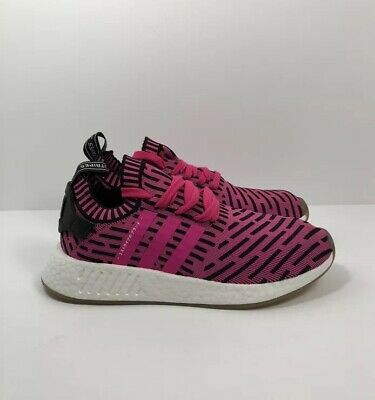 "7ccd896ed Adidas NMD R2 Primeknit ""Japan Shock Pink"" Runner Shoes Mens Size 8 New"