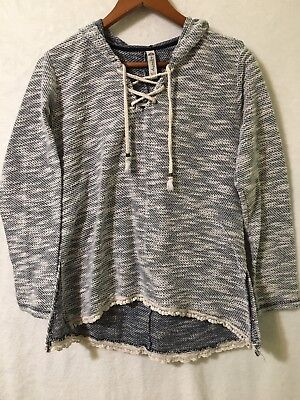 American Rag Medium Hooded Lace Up V Neck Womens Long Sleeve Pullover