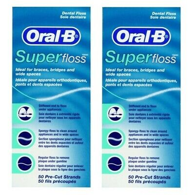 2 x Oral-B Super Floss 50 Pre-Cut Strands for Braces & Bridges Dental Floss