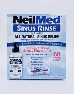 New Neilmed Sinus Rinse Kit 60 Premixed Sachets Saline Nasal Irrigation
