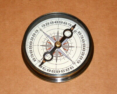 "Antique vintage nautical solid brass 2"" compass henry hughes collectible compass"