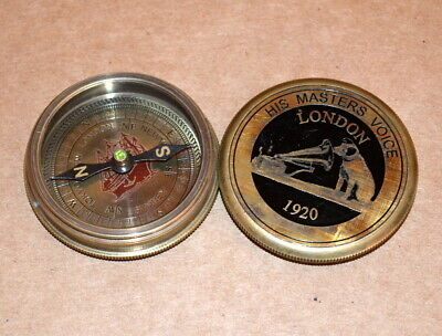 "Antique vintage nautical solid brass 2"" compass master voice collectible compass"
