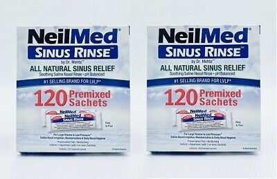 New 2x Neilmed Sinus Rinse 120 Premixed Sachet Hayfever Irritation Relief