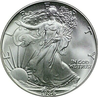 1986 American Silver Eagle, Uncirculated, First Year of Issue, BU