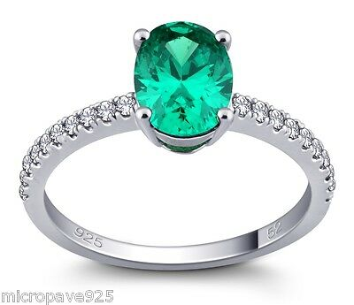 Emerald Green Cubic Zirconia Oval Shaped Solitaire Ring Pave Setting Silver 925