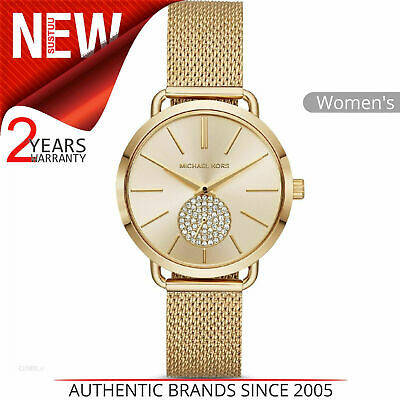 a445843dbeef Michael Kors Portia Ladies Watch MK3844│Crystal Pave SubDial│Gold Tone Mesh  Band