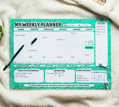 Agenda Planner Settimanale da Tavolo - Weekly Organizer A3 To Do List Planning
