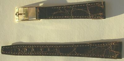 OMEGA VINTAGE NOS LADIES 14 mm BROWN CROCODILE FINISHING BAND WITH LONG GF FOB
