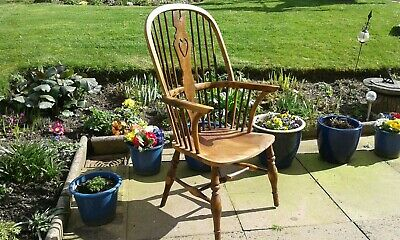 Antique Victorian Windsor High Back Armchair Stick Back Chair English Yew C1800s