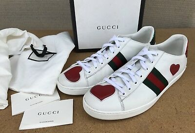 51fb9580243 Gucci New Ace Web Heart White Leather Green Red Web Detail Sneaker Women  Size 41